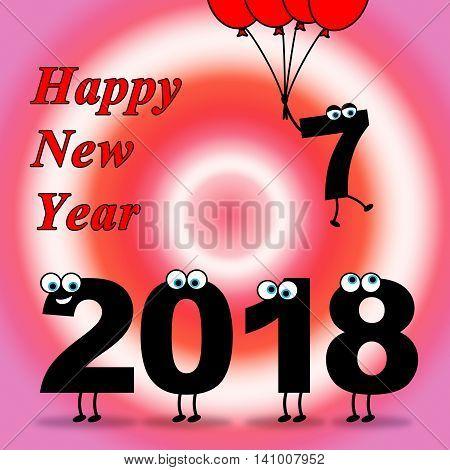 Twenty Eighteen Indicates Happy New Year And Celebrate