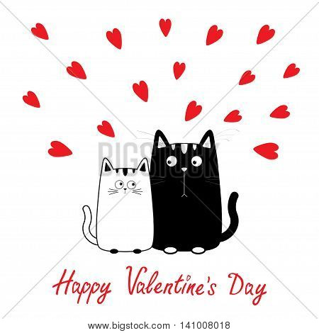 Happy Valentines Day. Cute cartoon black white cat boy and girl family. Kitty couple on date. Funny character set. Love greeting card. Flat design. Heart background. Isolated. Vector illustration