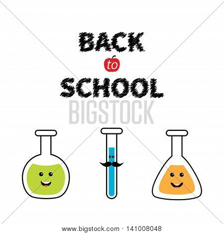 Back to school. Science lab glass set. Cartoon character with moustaches. Laboratory jar. Chemistry flask bulb beaker test-mixer graduate. Education card. Flat design. Isolated. Vector illustration