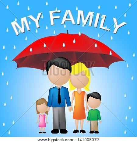 My Family Shows Parasol Umbrella And Sibling