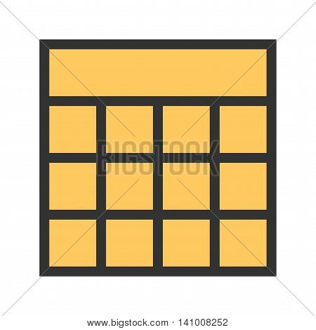 Excel, blocks, table icon vector image.Can also be used for text editing. Suitable for mobile apps, web apps and print media.