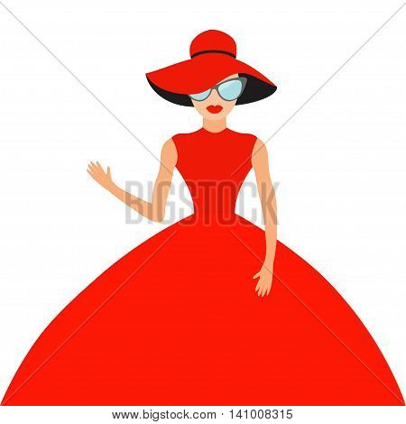 Woman in red elegant hat and big dress sunglasses waving. Rich beautiful celebrity girl. Beauty fashion model face lips. People Cute cartoon character Flat White background Isolated Vector