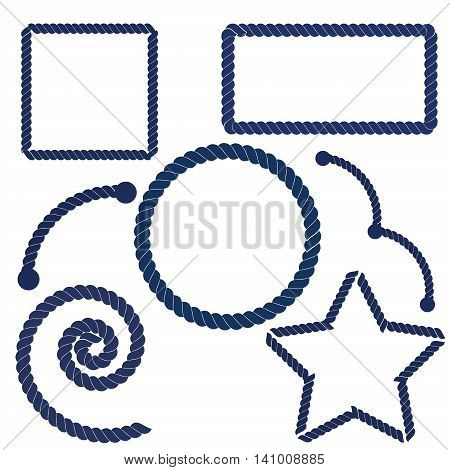 Nautical rope frame vector set. Navy blue and white circle rope frame design marine string element. Strong knot object nautical rope. Cord cable nautical rope sailor twisted border graphic.