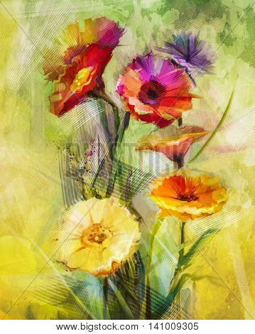 Watercolor painting flowers. Hand paint still life bouquet of yellow, orange, white gerbera flowers on grunge textures background. Vintage painting style. Spring flower nature background