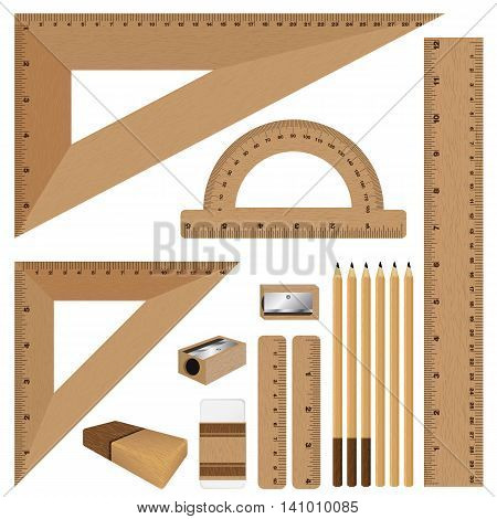 Drawing set. Wooden ruler and pencil, eraser with sharpener isolated on white background.