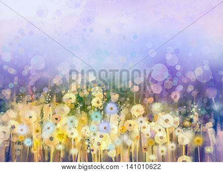 Abstract oil painting flowers plant. Dandelion flower in fields. Meadow landscape with wildflower. Purple, Blue sky color with bokeh. Hand Paint floral Impressionist. Summer, spring nature background.