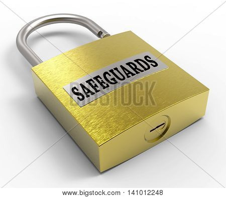 Safeguards Padlock Indicates Protect Unlock And Protection 3D Rendering