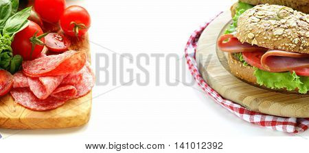 sandwich of wholemeal bread with ham and tomatoes, healthy food