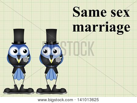 Male same sex marriage on graph paper background with copy space for own text