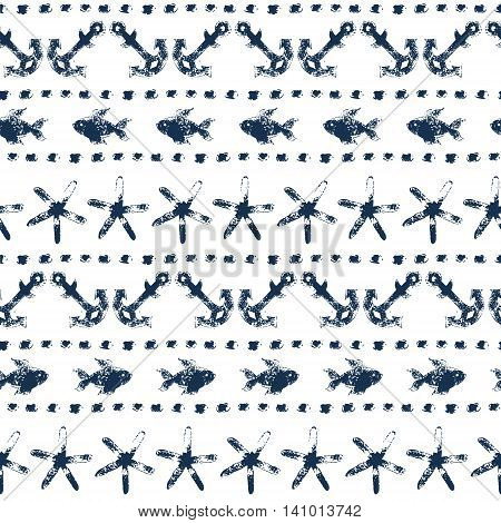 Marine striped seamless pattern with anchors, fishes, starfishes, dots in navy blue and white, vector background