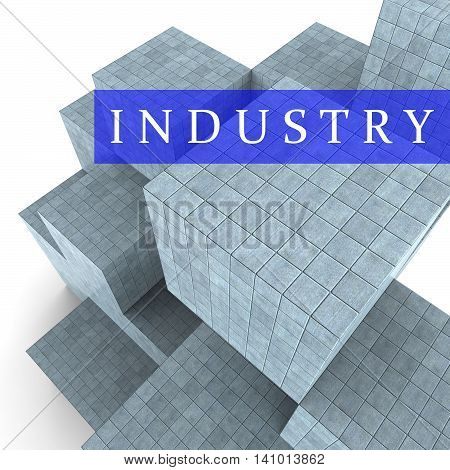 Industry Blocks Indicates Factory Industrial And Industries 3D Rendering