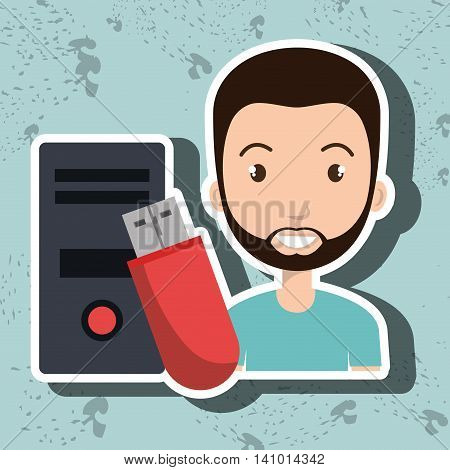 person floppy processor system vector illustration graphic
