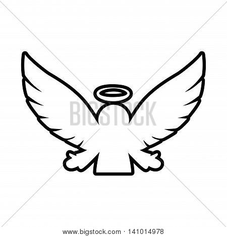 angel silhouette fairy wing heaven icon. Isolated and flat illustration. Vector graphic