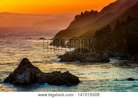 Sunset Landscape California Big Sur
