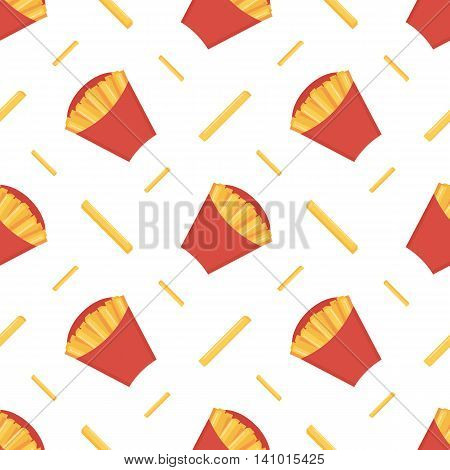 Crispy french fries in red paper box vector seamless pattern background.