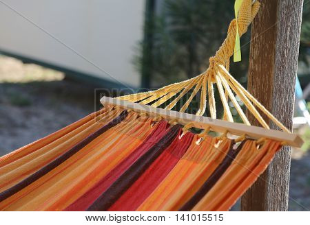 Colorful Hammock To Relax In The Bungalow Resort