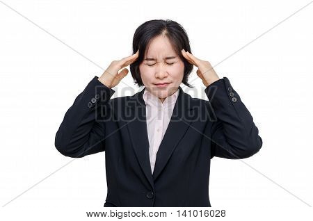 Middle aged asian woman with headache over white background