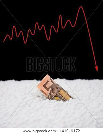 EU paper currency sink into polystyrene particle and a fluctuation graphic on background monetary concept