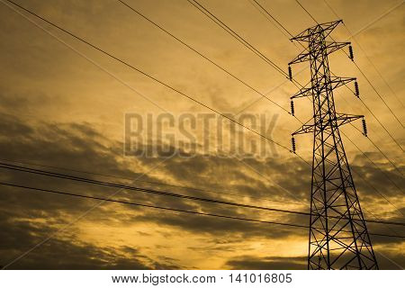 high voltage post.High voltage tower sky background.