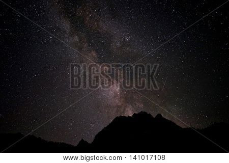 Meteor shower and Miliky Way. Enchntmetn lakes basin near Leavenworth and Seattle WA.