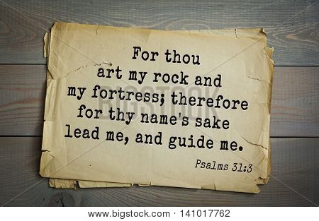 Top 500 Bible verses. For thou art my rock and my fortress; therefore for thy name's sake lead me, and guide me.   Psalms 31:3