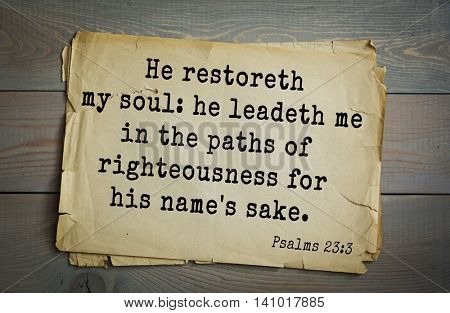 Top 500 Bible verses. He restoreth my soul: he leadeth me in the paths of righteousness for his name's sake.  Psalms 23:3