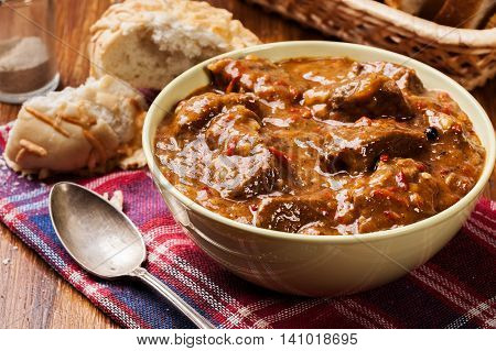 Beef Stew Served With Crusty Bread