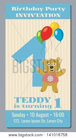 Birthday party invitation card with cute bear vector template 1 year old. Invitation to party first birthday, illustration banner invitation with bear