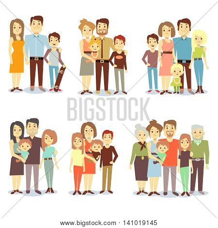Families different types flat vector icons. Set of happy family, illustration of groups different families