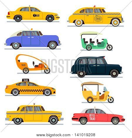 World famous taxi cars. Set of different taxi vehicles vector illustration
