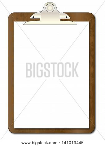 A worn clipboard with a sheet of white paperisolated on white.