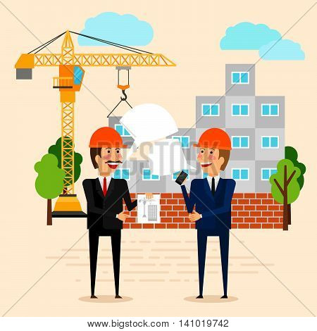 Construction or building vector illustration. Builders discussing construction of house