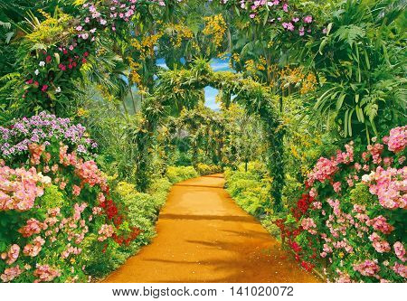Park alley with flowers and liana arches