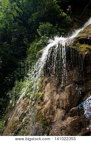 A small waterfall in the mountains of Abkhazia