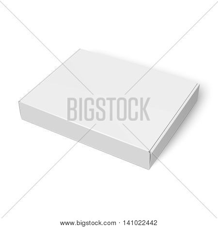 Blank slim cardboard box template lying on white background. Package collection. Vector Illustration.