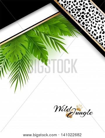 Wild tropical jungle background with jaguar skin pattern and green palm leaves decoration. Vector vertical card with copy space in material design style.