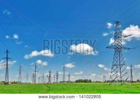 Hi -power Transmisson Electric  Line On The Green Field's.