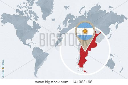 Abstract Blue World Map With Magnified Argentina.