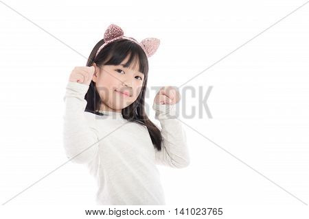 Portrait of beautiful Asian girl with cat ears on white background isoated