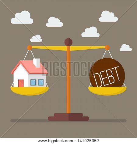 House and debt balance on the scale. Business Concept