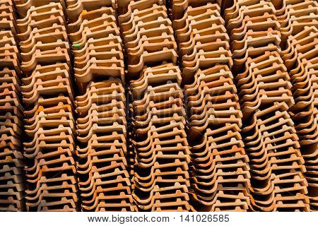 Pile of roofing tiles packaged, for temple
