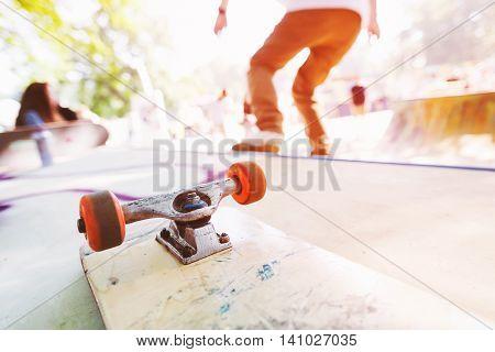 Blank skateboard on the ramp. Man riding on a skateboard. Skatepark