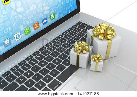 Gift box with ribbon bow on laptop keyboard. 3d rendering.