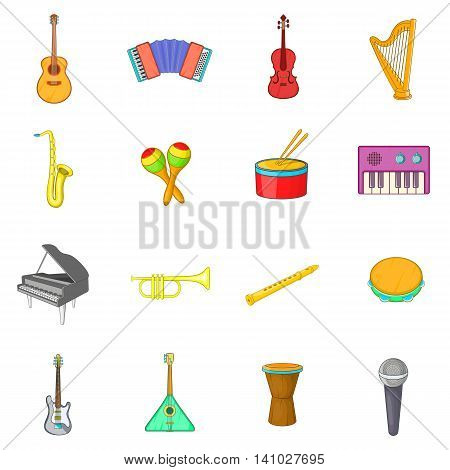 Musical instruments icons set in cartoon style. Musical equipment set collection vector illustration