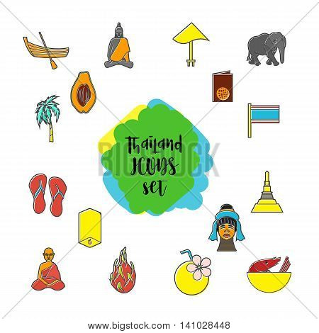 Thailand icons set in flat style. Thailand elements set collection vector illustration