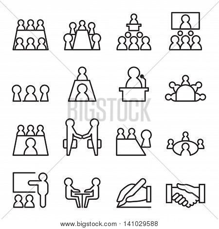Conference & Meeting Icon set in thin line style