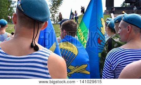 TOMSK RUSSIA - AUGUST 2 2016:Former military personnel mark holiday - the Day of Airborne Troops
