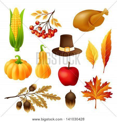 Thanksgiving decoration elements set. Autumn seasonal symbols. Vector icons