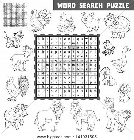 Vector Colorless Crossword About Farm Animals. Word Search Puzzle