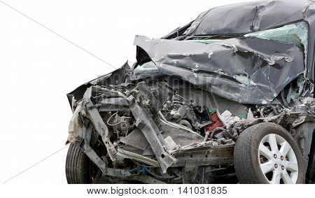Black car accident front side on white background